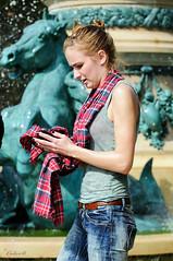 Paris Fountain (ColinB Portraits) Tags: paris fountain wet tartan scarf girl technoparade colinb wetjeans wetshirt water
