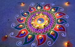 Celebrations (bag_lady) Tags: lights lamps pattern design rangoli culture celebration camelfair mela pushkar rajasthan tradition india