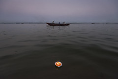 Varanasi (Ravikanth K) Tags: 500px varanasi banaras kashi kasi water ganga river ganges boat evening dia light lamp floating people boating ripple uttarpradesh cup travel city india outdoor