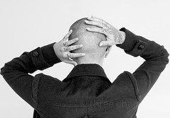 shaved (threechairs) Tags: woman bald shaved head hands tattoos beautiful fingers