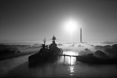 USS Texas (OneEighteen) Tags: houston ship channel houstonshipchannel pilot harbor port nautical marine maritime σκάφοσ 船 schiff schip nave navire корабль oneeighteen louvest usstexas sanjacintomonument blackandwhite bw fog morning sunrise