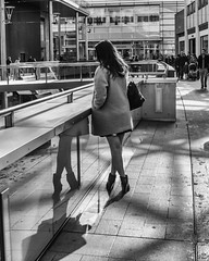 Four Legs Good (Boystead) Tags: street black white legs reflection telephone mobile crossed boots heels