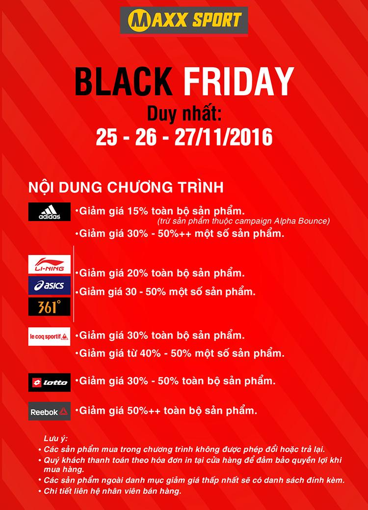 Black Friday - Giảm 20 - 50% toàn bộ sản phẩm tại MaxxSport
