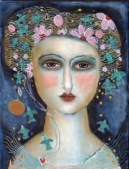 """NIGHT BLOOMING FLOWERS"" #3 (kitty jujube) Tags: art acrylicpaint flowers face woman night painting sandifitzgerald kittyjujube"