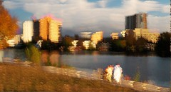Town Lake Sunset (Richard Denney) Tags: sunset lake austin water skyline icm color sky clouds impressionist