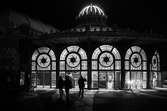Asbury Park Carousel (Dalliance with Light (Andy Farmer)) Tags: jersey night carousel silhouette boardwalk asburypark nj bw windows skateboarding shore newjersey unitedstates us
