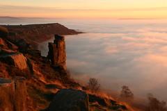 Evening Mists Lapping Curbar Edge (Derbyshire Harrier) Tags: 2016 mist fog inversion sunset evening dusk glow curbaredge easternmoors rspb nationaltrust peakdistrict november winter silverbirch moorland gritstone peakpark curbarpinnacle