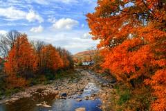 Fiery Autumn in Tannersville,  NY (ftoomschb) Tags: autumn fall luminance foliage sony alpha dslr a700 hudsonvalley greene county ny nys orange blue sky drought creek