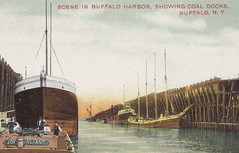 SHIP Wood Tug Boat and Barge Puller THE VALIANT with Masted and Steamer Ore and Coal Carring Freighters and the Buffalo NY Coal Docks at Lake Eries Buffalo Harbor2 (UpNorth Memories - Donald (Don) Harrison) Tags: christmas santa jesus vintage antique postcard rppc don harrison upnorth memories upnorth memories upnorthmemories michigan history heritage travel tourism michigan roadside restaurants cafes motels hotels tourist stops travel trailer parks campgrounds cottages cabins roadside entertainment natural wonders attractions usa puremichigan  railroad ferry car excursion