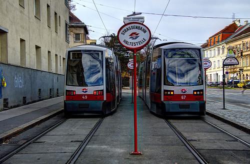 Vienna - trams - #49 and 67 at Dornbach Güpferlingstraße
