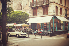 (nina's clicks) Tags: street people paris car restaurant tables ninasclickstumblrcom
