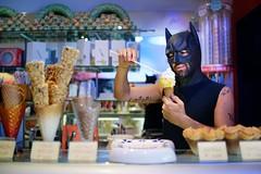 "162/365 - ""I'm Batman"" nr.12 (Luca Rossini) Tags: portrait man guy ice shop project blog cone sony cream tattoos 365 maker seller serving imbatman rx1 365daysof"