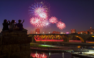 4th of july fireworks over downtown minneapolis minnesota