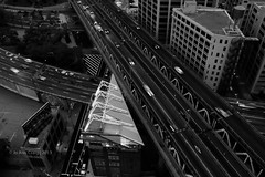 Black and White:  Brooklyn NY (jacraig314) Tags: street sunset newyork reflection building brooklyn clouds highway jay dumbo 100 lowermanhattan