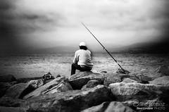 PECHEUR (steve lorillere) Tags: blackandwhite rock cane fishing fisherman noiretblanc cannes cana pcheur pesca pretoebranco rocher fischer pescador felsen pche  fischen   rohrstock      schwarzundweis
