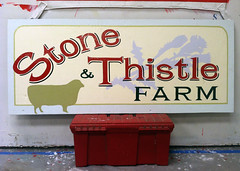 Hand painted signage for local farm (Seamus Liam O'Brien) Tags: new york signs ny art sign stone painting paint artist sheep farm thistle text seamus upstate east liam obrien painter signage font meredith lettering signpainting