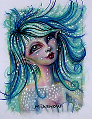 MIASNOW Drawing Nov 8 2013 MerMama (MiaSnow) Tags: blue original art colorful pretty drawing creative aceo scales mermaid colorpencil whitedots
