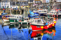 Mevagissey Harbour (Tony Shertila) Tags: red sea england sky colour reflection water weather clouds port boats fishing europe cornwall day cloudy harbour britain vibrant hdr mevagissey mygearandme