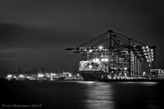 Felixstowe Docks by Night (muppet1970) Tags: blackandwhite night docks suffolk ship cranes irene felixstowe msc containers