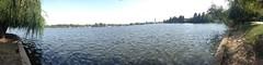 Testing the new Panorama mode on the iPhone (georgemoga) Tags: park panorama lake water sailing bucharest herăstrău