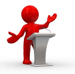 Presentation Skills Training (Swetha123456) Tags: red people woman white abstract man 3d chat humorous release talk voice podium human figure winner microphone win lecture speech say speaking dialogue notify intructor