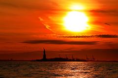 Sunset 1/13/14 (Shutterhound Photography) Tags: nyc sunset sun ny clouds liberty freedom nj hudsonriver statueofliberty naturalbeauty cloudporn
