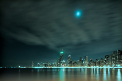 Moonlit (benchorizo) Tags: longexposure moon chicago skyline night clouds nikon cityscape skyscrapers cloudy chicagoskyline northavenuebeach chicagoist banias citynights d90 moonit benchorizo romeobanias