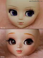 Before & After - Pullip Akemi Homura (-Poison Girl-) Tags: new pink cute girl closeup mouth hair eyes doll soft closed long dolls lashes eyelashes sweet bald makeup before lips planning jp wig blonde groove after pullip february poison custom alana pullips paja febrero lids jun poisongirl akemi customs eyelids 220 regeneration 223 2014 faceup eyechips junplanning homura rewigged lightshop pullipcustom poisongirlsdolls