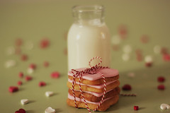 Valentines Day Cookies (Teresa Micheile Henderson) Tags: pink cookies illustration recipe milk day sweet feather valentines arrow printable paperstraw