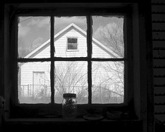 Inside Looking Out (tim.perdue) Tags: old light shadow bw white house black abandoned window glass monochrome silhouette farmhouse neglect rural dark out interestingness interesting looking decay empty mason explore vacant frame jar inside pane popular