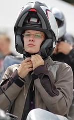 Motorcycle.... (116) (anjaschmidt1982) Tags: woman girl leather female closed helmet chick suit gloves motorcycle biker visor helmets fullface