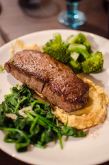 Beef sirloin with chickpea puree, spinach and broccoli (mikko kuhna) Tags: food chicken beef broccoli meat butter poultry garlic oliveoil spinach vegetableoil chickpea chickenstock beefsirloin