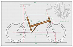 Twenty Drawing (Shu-Sin) Tags: bicycle frame geometry raleigh twenty folding folder mod modification shusin dimensions drawing
