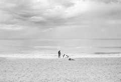 family at the beach, Sydney  #508 (lynnb's snaps) Tags: 35mm manly rodinal bw beach film standdevelop rollei35s zeiss40mmf28sonnar agfa apx100 blackandwhite noiretblanc families children ocean coast horizon light
