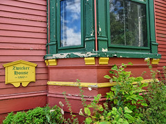 Zwicker House (tvordj) Tags: mahonebay novascotia colourful windows reflection architecturaldetail scarecrows2016