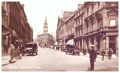 King Street, Stirling. (Paris-Roubaix) Tags: king street stirling william wallace statue antique postcards scotland vintage scottish sepia
