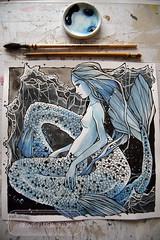 Mermaid - done (The Girl with the Flaxen Hair) Tags: natiart watercolor painting inkandwatercolor ink inking mermaid siren mermaidart blue workinprogress art illustration wipshot animemanga natithegirlwithflaxenhair etsy