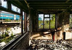Shards & Fragments. (-Metal-M1KE-) Tags: arrivawales arriva wolverhampton 158 derelictbuilding derelict windows shards windowframe decline railwayphotography urbex urbanexploration