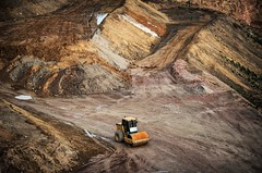 The lonely (dannicamra) Tags: nikon d5100 sand stone work labor earth dirt ground vehicle workstation mining