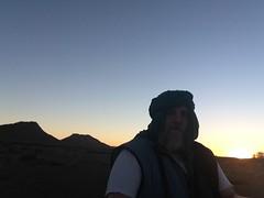 Selfie: silhouette against setting sun (John Englart (Takver)) Tags: morocco zagora cameltrek camels desert saharadesert selfie johnenglart