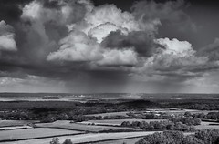 Showers (Greatdog) Tags: landscape blackandwhite cloudsstormssunsetssunrises dorset pooleharbour