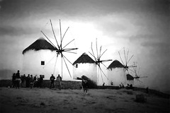 Mykonos Nights (christine zenino) Tags: mykonos wind mills blackandwhite greece