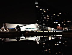 Towards the Museum of Liverpool, October 2016 (ronramstew) Tags: museum liverpool docklands dock albertdock night reflection october 2016 england uk