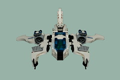 6920 Twin Patrol Ship - Viper Shot (Harding Co.) Tags: lego space scifi spaceship future futuron classic classicspace minifigure minifigures patrol viper twin cockpit wings white black grey novvember nnovvember vv vehicle landscape engines thrust fin flying 6920 trans transparent blue