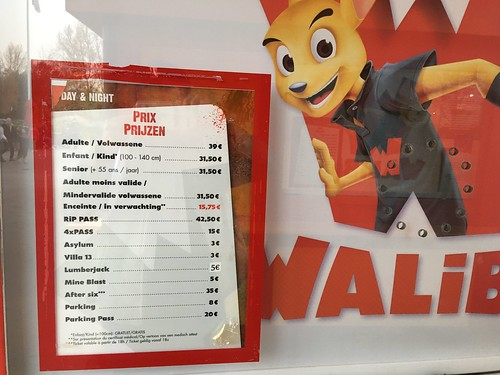 Walibi Belgium Price Board, October 2016