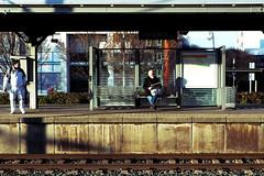 Waiting For The Train (Isengardt) Tags: waiting warten sitting sitzen wartend train zug schiene gleis bahnhof mainstation station haltestelle people menschen leute sbahn street strase fellbach badenwürttemberg deutschland germany europe europa olympus omd em1 1250mm bank bench zeitung newspaper lesen reading read
