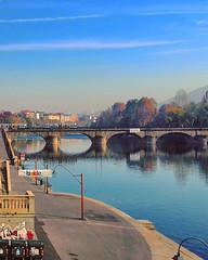 """""""Along the Po River""""  Turin City  (Italy). (giannipaoloziliani) Tags: lights flickr perspectives panorama landscape horizon blue riflessisulfiume acqua trees turincity focalpoint architectures cielo colori colors italia piemonte italy waterreflections reflexiones water skyline sky sunset evening sera sunlights bridge ponte tram trams turin torino oil lungofiume alongtheriver city effettoolio oileffect fiume river po fiumepo poriver"""
