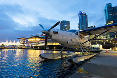 Dawn on the Dock (Jason Pineau) Tags: harbourair dhc3 dhc3t otter coalharbour cyhc vancouver britishcolumbia bc floatplane seaplane dusk dawn twilight
