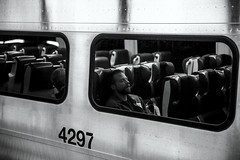 Late night, Grand Central (Alex Szymanek) Tags: ny nyc manhattan train metra monochrome grandcentral people life night late light chrome reflects window sleep i want stop go pass bay canon 5d 70200 close other side look sitting asleep dream dreaming terminal urban midtown