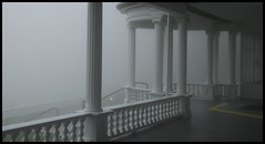 Fog on the Blue Ridge Parkway, NC (hamsiksa) Tags: weather fog mist mountains northcarolina blueridgeparkway appalachians blueridge appalachia architecture revival greekrevival neoclassic wood residential
